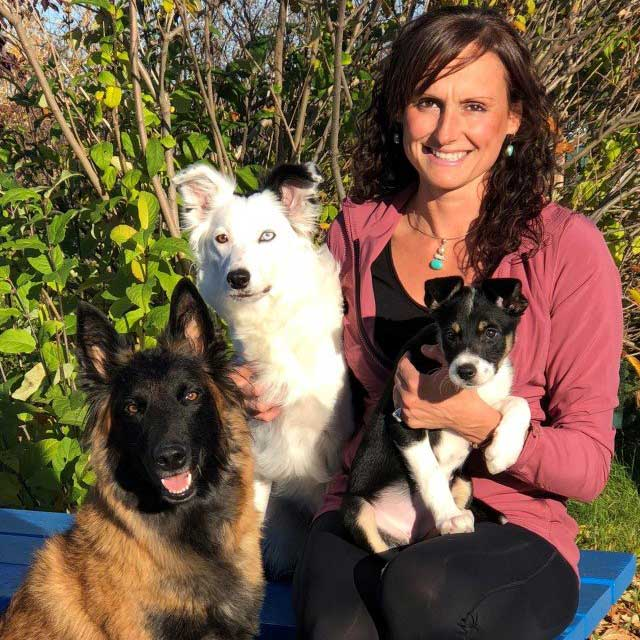 Michaela Krohn with her dogs