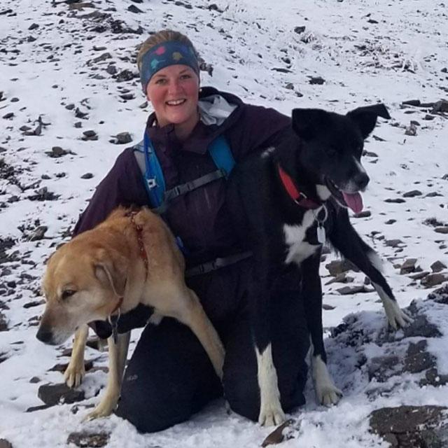 Michaela Krohn with her dogs